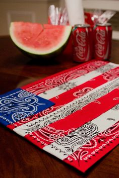 Cut up red, white, and blue bandannas and sew or glue together to make an American flag-inspired bandanna placemat.