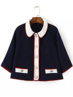 Mantel mit kontrastfarbigem Revers und Knöpfe-marineblau 26.53