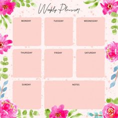 Weekly planner with pink floral watercolor frame Premium Vector Planner Pages, Weekly Planner, Floral Watercolor Background, Frame Download, Baby Album, Printable Planner Stickers, Vector Photo, Planner Organization, Retro Art