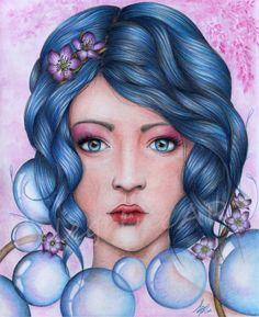"""Portrait """"Bulles"""" - Dessin original couleur - 24*30 : Dessins par pelegrineart"""