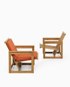 Edvin Helseth; Adjustable Pine Armchairs for Trybo, 1965.