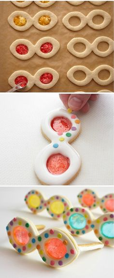 I'm thinking glasses here - Summery Sunglasses Cookies, summer cupcake recipes - Cupcakepedia Dessert Oreo, Cookie Desserts, Cupcake Cookies, Sugar Cookies, Cookie Recipes, Summer Cupcake Recipes, Summer Cupcakes, Party Cupcakes, Stained Glass Cookies