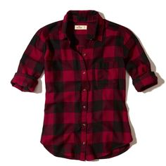 Hollister Button-Front Flannel Shirt ($40) ❤ liked on Polyvore featuring tops, red check, plaid shirts, pocket shirts, purple shirt, button front shirt and red top