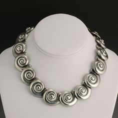 Margot de Taxco Sterling Silver Shell 3-Piece Set - A Choker with an Extension and a Bracelet