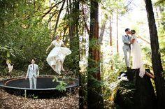 Trampoline and woodsy bridal couple photos. http://www.mybigdaycompany.com/