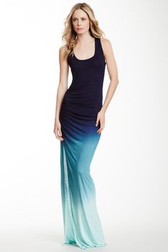 Ombre Ruched Racerback Maxi Dress by Young Fabulous & Broke