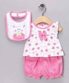 Strawberry bloomer set with bunny bib