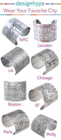Our Metro & City cuff bracelets are accurate maps of your favorite subways and cities! We have cities from all around the world. Choose your favorite at designhypeinc.com