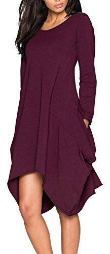 Anmengte Plus Size Women Fall Long Sleeves Irregular Pockets Tshirt Dress M Purple -- Want to know more, click on the image.