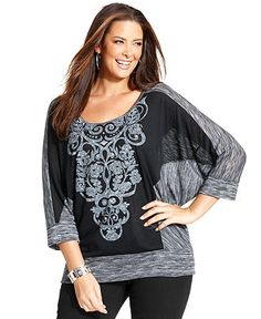 Style Plus Size Top, Three-Quarter-Sleeve Printed Embellished - Plus Size Tops - Plus Sizes - Macy's