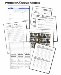 This bundle contains numerous literature resources that can be used for any novel, short story, play, etc. Over 100 pages of activities...