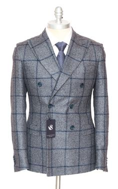 SARTORE Bottoli Windowpane Silk Cashmere Double Breasted Coat Jacket  |  Get in there! http://www.frieschskys.com/blazers  |  #frieschskys #mensfashion #fashion #mensstyle #style #moda #menswear #dapper #stylish #MadeInItaly #Italy #couture #highfashion #designer #shopping