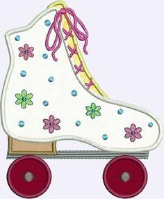 Flower Power Roller Skate Applique designs 2 sizes. $3.99, via Etsy.