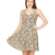 Brown rose lace dress
