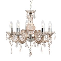 Searchlight 1455-5MI Marie Therese 5 Light Ceiling Pendant Light In Chrome And Mink from Lights 4 Living