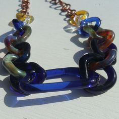 Lampwork Glass Chain and Copper Chain by fragiacomoglassart