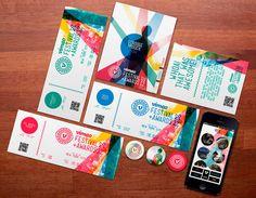 Vimeo Festival + Awards by Majken Bagge, via Behance Graphic Design Branding, Graphic Design Posters, Identity Design, Brochure Design, Typography Design, Logo Design, Visual Identity, Brand Identity, Design Graphique