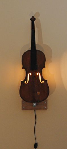 Vintage violin wall light by yeROCdesigns on Etsy, $250.00