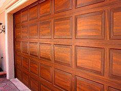 garage door painted like wood