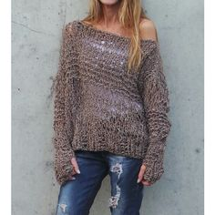 Brown sweater, loose knit, Grunge oversized thumb hole sweater, off... (£72) ❤ liked on Polyvore featuring tops, sweaters, chunky off the shoulder sweater, chunky oversized sweater, knit sweater, chunky knit sweater and loose sweaters