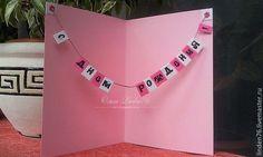 Купить или заказать открытка'С Днем Рождения!' в интернет-магазине на Ярмарке Мастеров. Открытка с сюрпризом внутри.Возможно распечатать ваше поздравление(текст пожелания присылайте в сообщении)Могу сделать в разных цветах.Возможно упаковать в конверт+30руб.