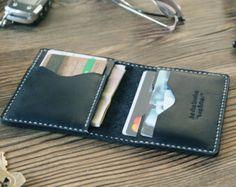 Mens gift Card holder Groomsmen gift Leather wallet by ZebStamp