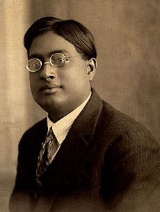 Satyendra Nath Bose (1894-1974), Indian physicist specializing in mathematical physics, best known for his work on quantum mechanics in the 1920s, providing the foundation for Bose–Einstein statistics and the theory of the Bose–Einstein condensate. The class of particles that obey Bose–Einstein statistics, bosons, was named after him by Paul Dirac. A self-taught scholar and a polyglot, his interests included physics, math, chem., bio., mineralogy, philosophy, arts, literature, & music.