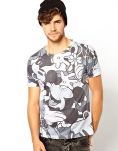 Image 1 of ASOS T-Shirt With All Over Mickey Mouse Print