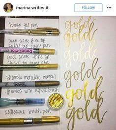 Gold markers and pens for hand lettering