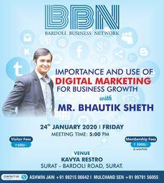 Bhautik Sheth is going to empower entrepreneurs and professionals of Bardoli for Digital Marketing on January. Digital Marketing Services, Social Media Marketing, Business Networking, January, Workshop, Amazing, Atelier, Work Shop Garage