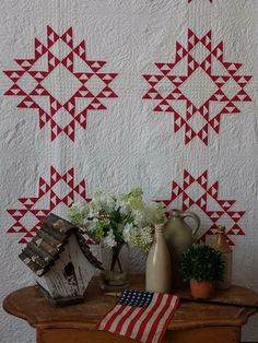 Antique Quilts, Vintage Quilts, Two Color Quilts, Red And White Quilts, Civil War Quilts, American Quilt, Miniature Quilts, Quilts For Sale, Star Quilts