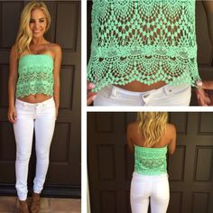 Mint Crochet strapless top with white pants or shorts and nude wedges. Summer outfits are forever my favorite!