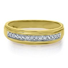 1/5 ct. tw. Diamond Men's Band in 10K Gold available at #HelzbergDiamonds