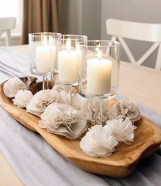 Christmas decoration holiday table - nice concept, but I would replace the cloth flowers with Ornaments.
