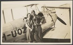Nancy Bird and Jack Kingsford-Smith standing next to a de Havilland DH.60M Moth (VH-UOZ), Mascot [?], New South Wales, ca. 1933, 1 / E. A. Crome   Flickr - Photo Sharing!