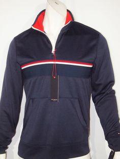 Tommy Hilfiger athletic quater zip mock neck pullover track jacket size small #TommyHilfiger #CoatsJackets