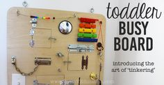 A DIY Busy Board helps to introduce children to the art of tinkering. Peek-a-boo doors, latches, locks, and more, make this is ultimate DIY gift.
