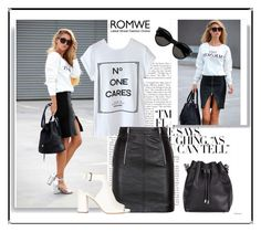 """""""ROMWE-  letter print white t-shirt"""" by elma-a ❤ liked on Polyvore featuring Yves Saint Laurent, Proenza Schouler and Prada"""