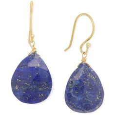 Lapis Teardrop Earrings (18 ct. t.w.) in 14k Gold over Sterling Silver ($300) ❤ liked on Polyvore