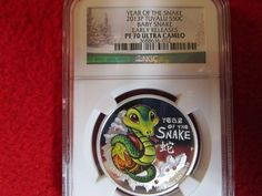 2013-P TUVALU Year of the Snake - Baby Snake Colorized NGC PF 70 Silver Coin