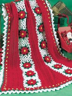 Christmas Flowers Afghan free crochet pattern