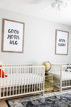 and Whitney's Neutral Twin Nursery Modern Neutral Twins Nursery - great layout and love the playful, cool vibe of this nursery!Modern Neutral Twins Nursery - great layout and love the playful, cool vibe of this nursery! Small Twin Nursery, Nursery Twins, Nursery Modern, Nursery Neutral, Nursery Room, Nursery Decor, Nursery Ideas, Coastal Nursery, Twin Room