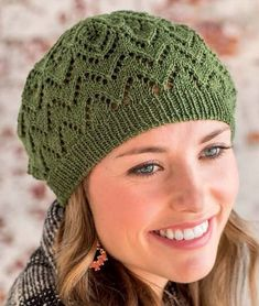 Free Knitting Pattern for Salunga Beret -Lace hat designed by Heather Zoppetti for Interweave.