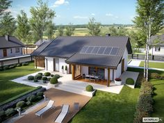 Projekt domu Kornel VI (z wiatą) energo - koszt budowy 165 tys. Small House Design, Modern House Design, Future House, Modern Bungalow House, Simple House Plans, Design Exterior, Bungalows, Facade House, Home Design Plans