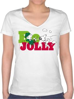 Snoopy Be Jolly Kendin Tasarla - Bayan V Yaka Tişört