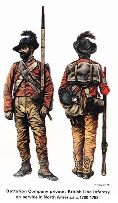 Bn Co Pvt, British Line Inf on service in N America, c. 1780-1783