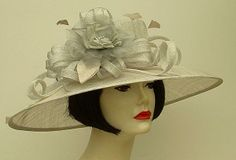 Silver Grey Sinamay/Grey Rose..from Hat-a-tude.com...the perfect hat to match you perfect Derby outfit!