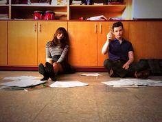 Lea Michele and Chris Colfer on the Glee set