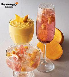 3 cocteles con mango: Piña colada Licua 1 tz. de jugo de piña, 1 tz. de crema de coco, 2 tzs. de mango, hielo y 3/4 tz. de ron blanco. Sirve, decora c/cereza en almíbar y 1 cubo de mango. Cazuela voladora de mango con toronja Mezcla 2 tzs. de refresco de toronja, 1/2 tz. de Tequila y 2 cdas. de jugo de limón. Sirve en jarritos. Pon mango picado, hielo y 1 rodaja de toronja. Espumoso de cassis con mango Sirve en 2 copas flauta mango en cubitos y 3 cdas. de cassis a c/u. Rellena con espumoso…