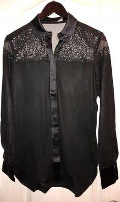 f208db4110 NWT  1008 LA PERLA Edenic Macrame Black Silk Long Sleeve Pajama Top Women s  XS
